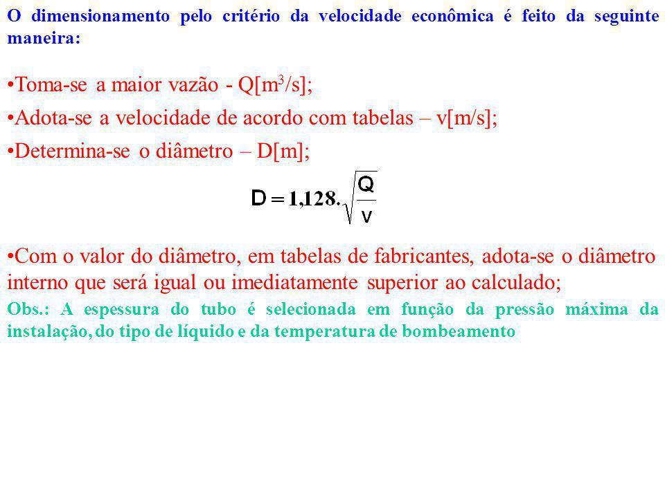 Toma-se a maior vazão - Q[m3/s];